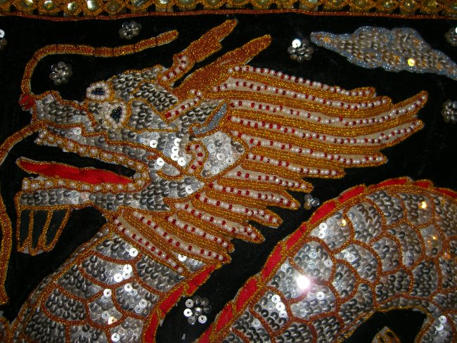 Sm00163 Single Sequins Dragon Black Velvet Orang Red Color
